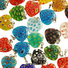 1-250 Pcs Mixed Colour Millefiori Glass Heart Charms Pendants 18mm