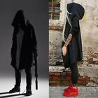 Cool Men Punk Hooded Sweater Cardigan Long Cloak Cape Jacket Poncho Hip-hop Coat