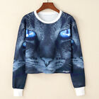 Fashion Women Casual Cat Eyes Printed Long Sleeve Top Pullover Hoodies Sweater