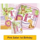 PINK SAFARI 1ST Birthday - First BIRTHDAY PARTY RANGE (Decorations & Tableware)