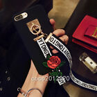 3D Fashion Cute Detachable Rose Flower Strap Hard Case Cover for Huawei Samsung