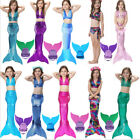 Kids Girls Fairy Mermaid Tail Scales Monofin Flippers Swimmable Swimming Costume