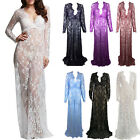 Women Maternity Photography Props Gown Lace Sheer Dresses Long Pregnant Dress