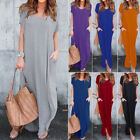 Women Shirt Dress Short Sleeve Round Neck Casual T-Shirt Long Maxi Shirt Dress