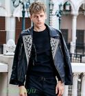 Fashion Men' Baroque Embroidery Coat Suit Collar Faux Leather Motorcycle Jackets