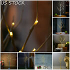 1.2M 48LED Silver Birch Twig Tree Warm White Light White Branches Lamp Household