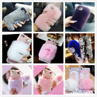 For ZTE ZMAX PRO/Z988/Z981 Warm Soft Furry Rabbit Fur Bling Crystal Case Cover