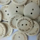 100pcs Wood Butterfly Handmade 2 Holes Wooden Buttons Sewing Scrapbooking US