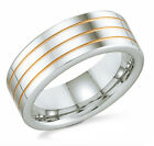 Men's Tungsten Band Grooved w/ Gold Plated Accents 8mm wide - Sizes 8 - 13