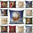 Christmas Pattern Cotton Linen Sofa Waist Cushion Cover Car Pillow Case Cover  image