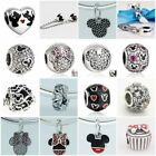Jaime Solid 925 Sterling Silver Mickey Minnie A Bead Charm Pendant Clip Bracelet