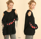 Black UMGEE Floral Embroidered Long Sleeve Cold Shouder Knit Sweater Tunic Top