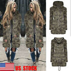 US Women Camouflage Hooded Coat Zip Army Jacket Parka Outwear Casual Windbreaker