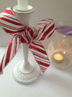 CANDY CANE Christmas glittery stripe sateen - Luxury Wire Edged Ribbon **NEW**