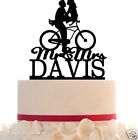Wedding Cake Topper Custom with Your LAST NAME - Bicycle Silhouette