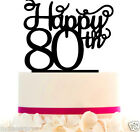 Cake Topper Happy 10 20 30 40 50 60 70 80 90 th with Removable spikes and base