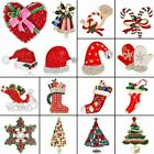 New Enamel Crystal Christmas Tree Boot Snowflake Shape Collar Brooch Pin Jewelry