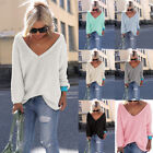 Women's Sexy V Neck Solid Color Loose Pullover Sweatshirt Knitted Jumper Blouse