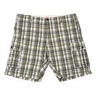 Dockers Mens Shorts Cargo Casual Flat Front Grey Plaid Pockets Nwt