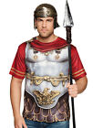 Mens Roman 3D T-SHIRT Fancy Dress Costume Deluxe Cape Armour Eagle Legionary NEW