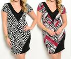 Black Red Beige Houndstooth Contrast Neckline Cap Sleeve Plus Dress