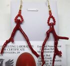 italian red coral errings,18k gold,made in italy corail rouge,红珊瑚鉴别 branches