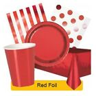 RED FOIL Party Tableware Disposable Birthday Supplies Event Decorations