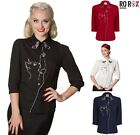 Dancing Days Banned Snow Bird Cat Butterfly Retro Vintage 50's Shirt Blouse Top