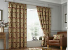 Damask Jacquard Chenille Curtains GOLD RED Pencil Tape Top PERIOD style