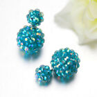 Vogue Flower Crystal Style Earrings Double Side Stud Earrings Big Beads EarringE