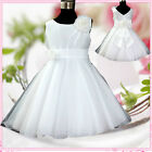 Free Shipping White Christmas Wedding Party Flower Girls Dresses AGE SZ 1 to 12Y