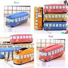 Cartoon Pen Pencil Case Bag Box Bus Canvas Storage Large Zipper School Bag Kids