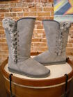 LAMO Grey Suede Robyn Lace Detail Tall Faux Fur Boots NEW