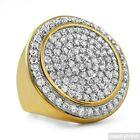 Gold Dipped Sterling Silver CZ Jumbo Round Iced Out Ring