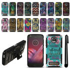 For Motorola Moto Z2 Play 2nd Gen Hybrid Heavy Duty Kickstand Case Cover + Pen
