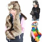 New Kids Boys Girls Deluxe Animal Hat With Attached Scarf Parrot Beaver Leopard