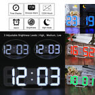 Large Modern Design Digital Led Skeleton Wall Clock Timer 24/12 3D Dimmable