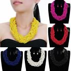 Fashion Jewelry Set Pearl Choker Cluster Collar Statement Bib Necklace Earrings