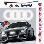 AUDI EMBLEM LED WHITE LIGHT FRONT CAR GLOW LOGO BADGE RIN...