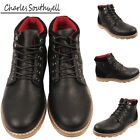 Mens Casual Work Faux Leather LaceUp Desert Ankle Boots Black Shoes Size UK 7-12