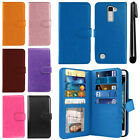 For LG K10 Premier LTE L62VL Flip Holder Wallet Cover Case Wrist Strap + Pen