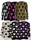 NEW WOMEN LADIES PLUS SIZE SKULL & HEART PATTERN WATERFALL LADIES  JUMPER