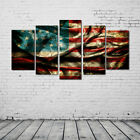 5 Panels American Flag Oil Painting Picture Retro Canvas Print Home Wall Decor