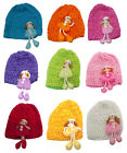 Bella Toddler's Stretchy Knitted Bonnet Hat with a Doll Ornement U16250-0018