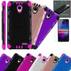 For Alcatel ZIP LTE Phone Case + TEMPERED GLASS Guard Hybrid Cover Solid Combat
