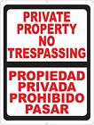 Bilingual Private Property No Trespassing Sign. Size Options. Spanish Privada