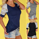Women Fashion Lace Short Sleeve Crew Neck T-shirt Casual Solid Shirt Tops Blouse