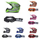 WULFSPORT  FLITE XTRA WITH GOGGLES KIDS YOUTH SIZES BARGAIN MX QUAD MOTORCROSS