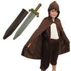 KIDS HOBBIT LORD FANCY DRESS MYTHICAL MAN HOODED COSTUME CHILDS BOYS CLOAK CAPE