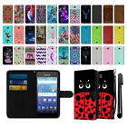 For Kyocera Hydro Wave C6740 Mixed Design Slim Canvas Wallet Case Cover + Pen
